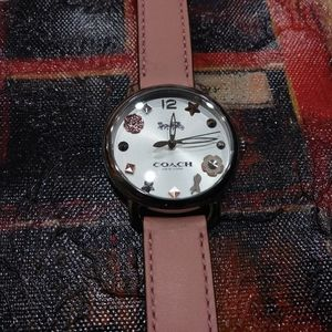 Coach Delancey pink leather floral face watch